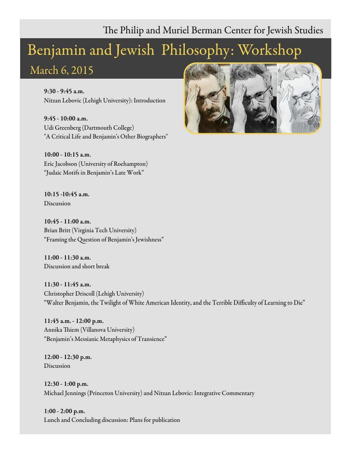Benjamin and Jewish Philosophy: Workshop